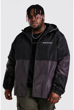 Black Plus Size Colour Block Sleeve Detail Cagoule