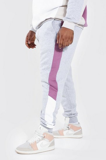 Grey Plus Size Colour Block Skinny Fit Joggers