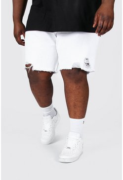Plus Size Slim Raw Hem Denim Short, White blanc