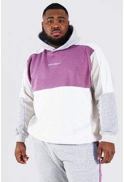 Plus Size Man Official Colour Block Hoodie, White blanco