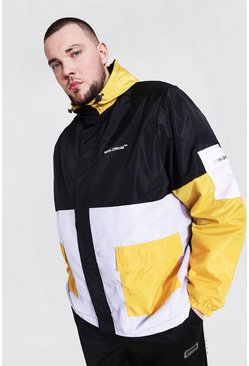 Mustard yellow Plus Size Colour Block Man Cagoule
