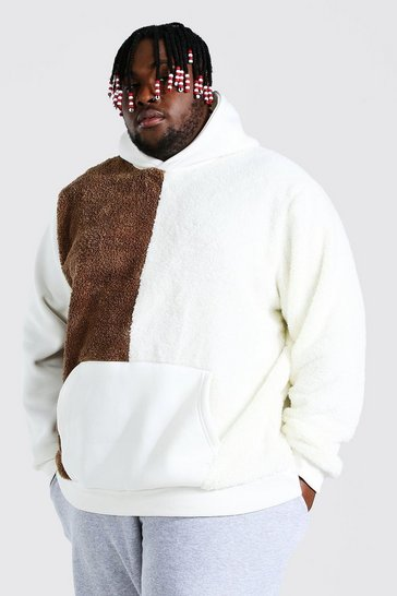 Ecru white Plus Size Borg Colour Block Hoodie