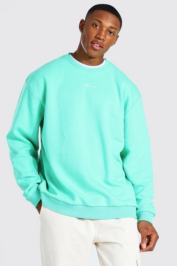 Jade green Oversized Man Signature Sweatshirt