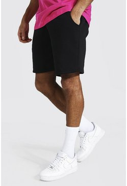 Black Mid Length Jersey Shorts With Man Draw Cords