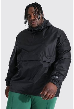 Black Plus Size Man Smart Packable Overhead Cagoule