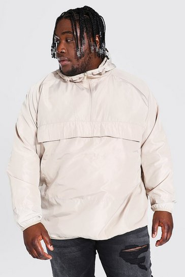 Stone beige Plus Size Hooded Lightweight Cagoule