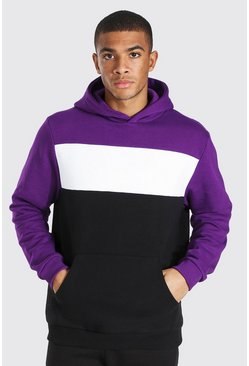 Purple Heavyweight Colour Block Hoodie