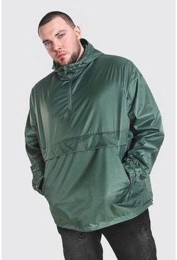 Khaki Plus Size Man Smart Packable Overhead Cagoule