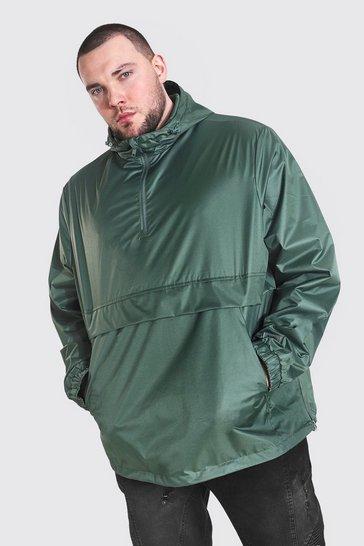 Khaki Plus Size Man Smart Packable Overhead Cagoule