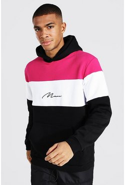 Pink Man Signature Heavyweight Colour Block Hoodie
