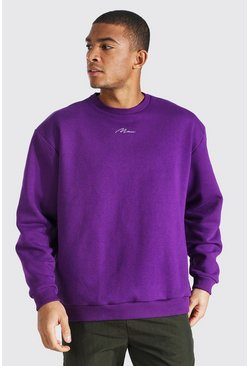 Vibrant purple purple Oversized Man Signature Sweatshirt