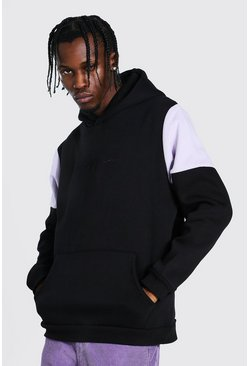 Lilac purple Man Signature Heavyweight Colour Block Hoodie