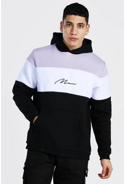 Lilac purple Man Signature Zware Colour Block Hoodie
