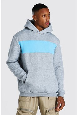 Blue Heavyweight Colour Block Hoodie