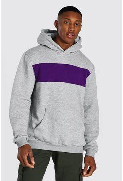 Vibrant purple purple Heavyweight Colour Block Hoodie
