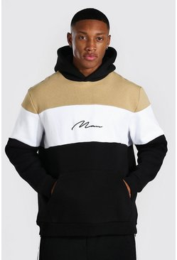 Sand beige Man Signature Heavyweight Colour Block Hoodie
