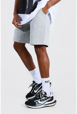 Grey marl grey Mid Length Jersey Shorts With Man Draw Cords