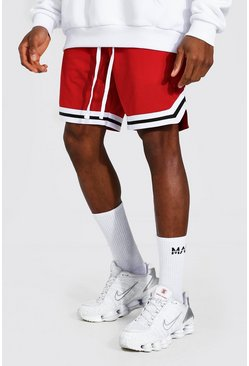 Red Mesh Basketball Shorts With Tape