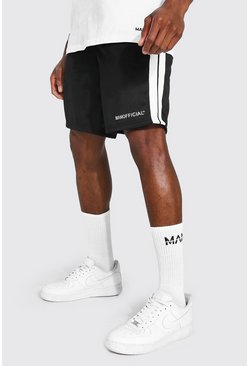Black Man Tricot Mid Length Short With Side Tape