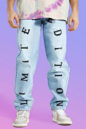 Antique blue Relaxed Fit Front Graphic Jean