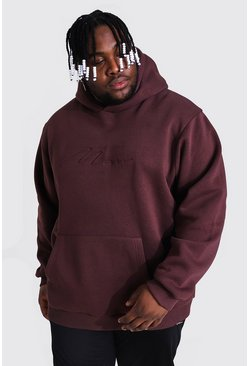 Brown Plus Size Man Script Debossed Hoodie