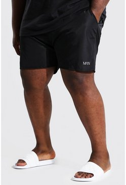 Black Plus Size Man Dash Swim Short