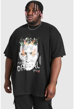 Black Plus Size Loose Fit Robot Tour Print T-shirt
