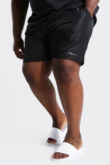 Black Plus Size Man Script Swim Short