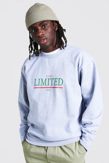 Grey marl grey Oversized Limited Print Sweatshirt
