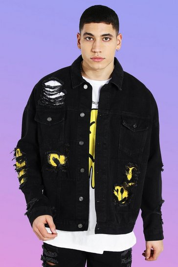 True black Oversized Rip & Repair Face Denim Jacket