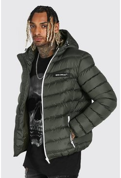 Khaki Quilted Jacket With Contrast Trims