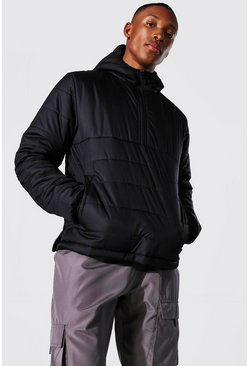 Overhead Quilted Jacket , Black nero