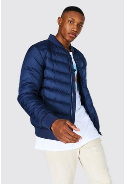 Quilted Bomber With Nylon Sleeves , Navy azul marino