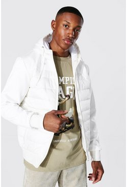 Sport Quilted Zip Through Jacket , Off white blanc