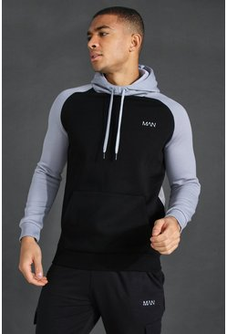 Grey Man Active Raglan Colour Block Hoodie