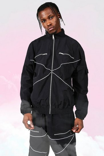 Black Oversized Man Reflective Piping Track Top