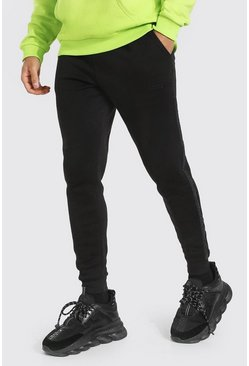 Black Original Man Skinny Tonal Tape Joggers