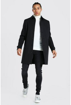 Tall Single Breasted Twill Mac, Black negro