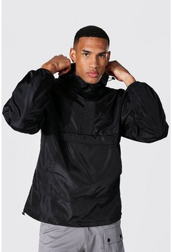 Black Tall Man Overhead Cagoule With Sleeve Tab
