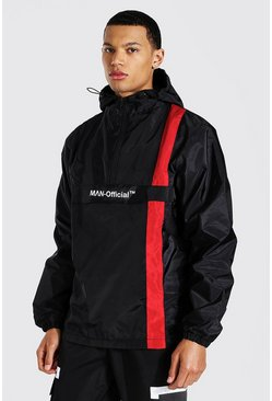 Tall Man Official Stripe Overhead Cagoule, Black noir