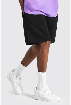 Black Tall Middellange Baggy Basic Jersey Shorts