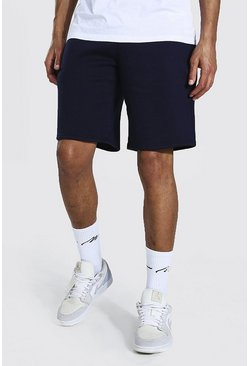 Navy Tall Basic Middellange Jersey Shorts