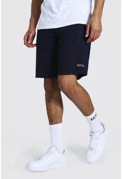 Navy Tall Middellange Jersey Man Shorts
