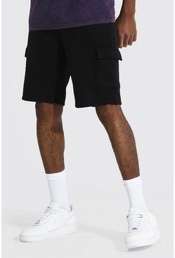 Black Tall Middellange Strakke Basic Cargo Jersey Shorts