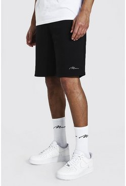 Black Tall Middellange Man Signature Jersey Shorts
