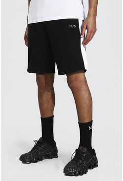 Black Tall Middellange Jersey Man Shorts Met Zijpaneel