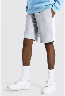 Grey marl grey Tall Man Mid Length Side Panel Jersey Short