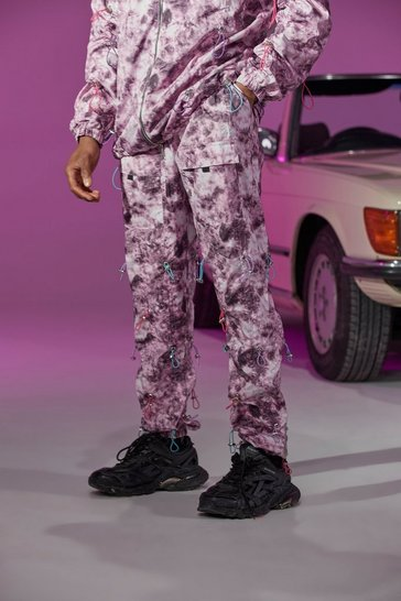 Purple Official Tie Dye Toggle Shell Cargo Trouser