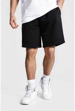 Black Basic Mid Length Loose Jersey Shorts