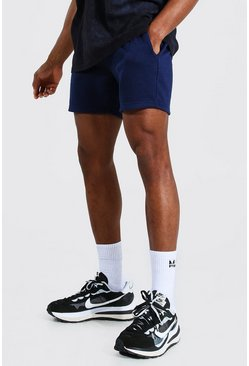 Short slim court basique en jersey, Navy marine